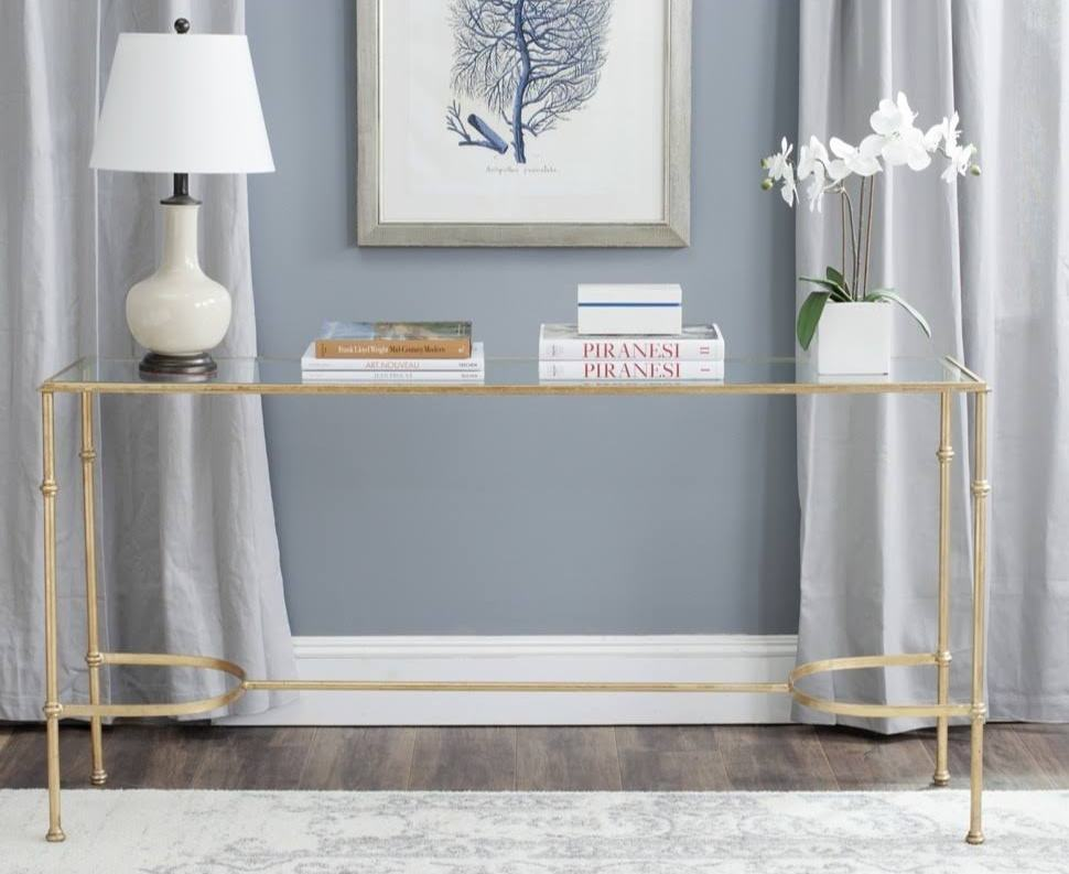 gold and glass console