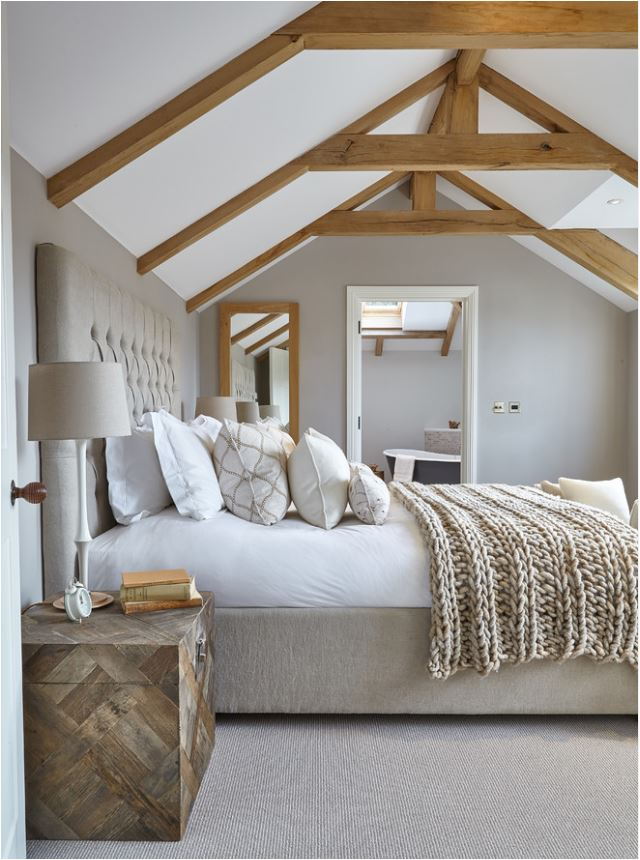 neutral layered bed linens