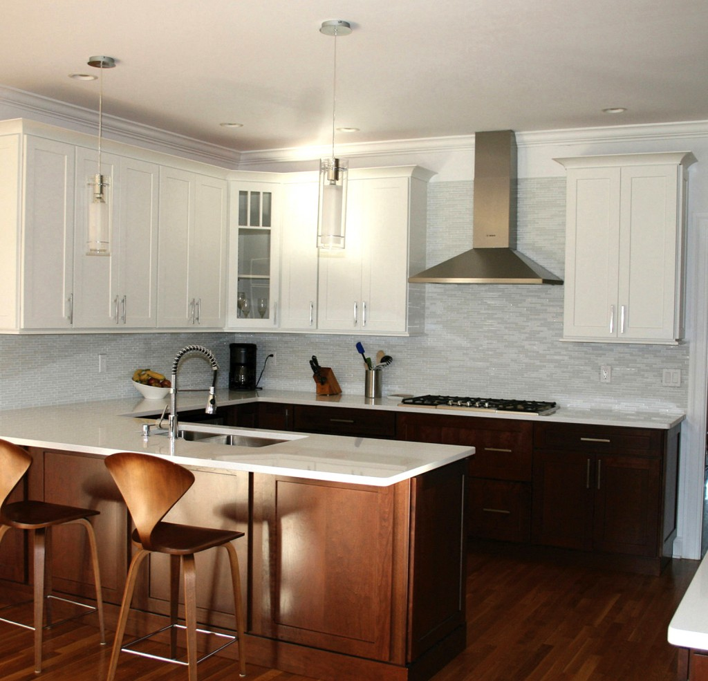 wood lower cabinet white upper cabinets