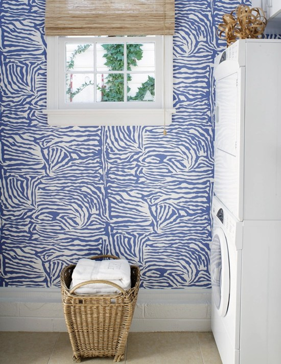 zebra wallpaper laundry room