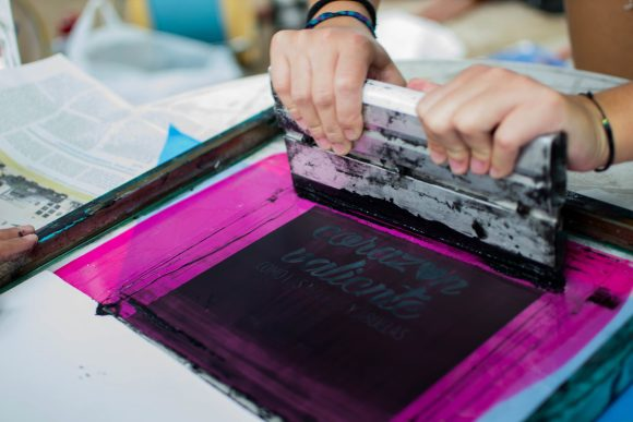 Screen printing using film positives