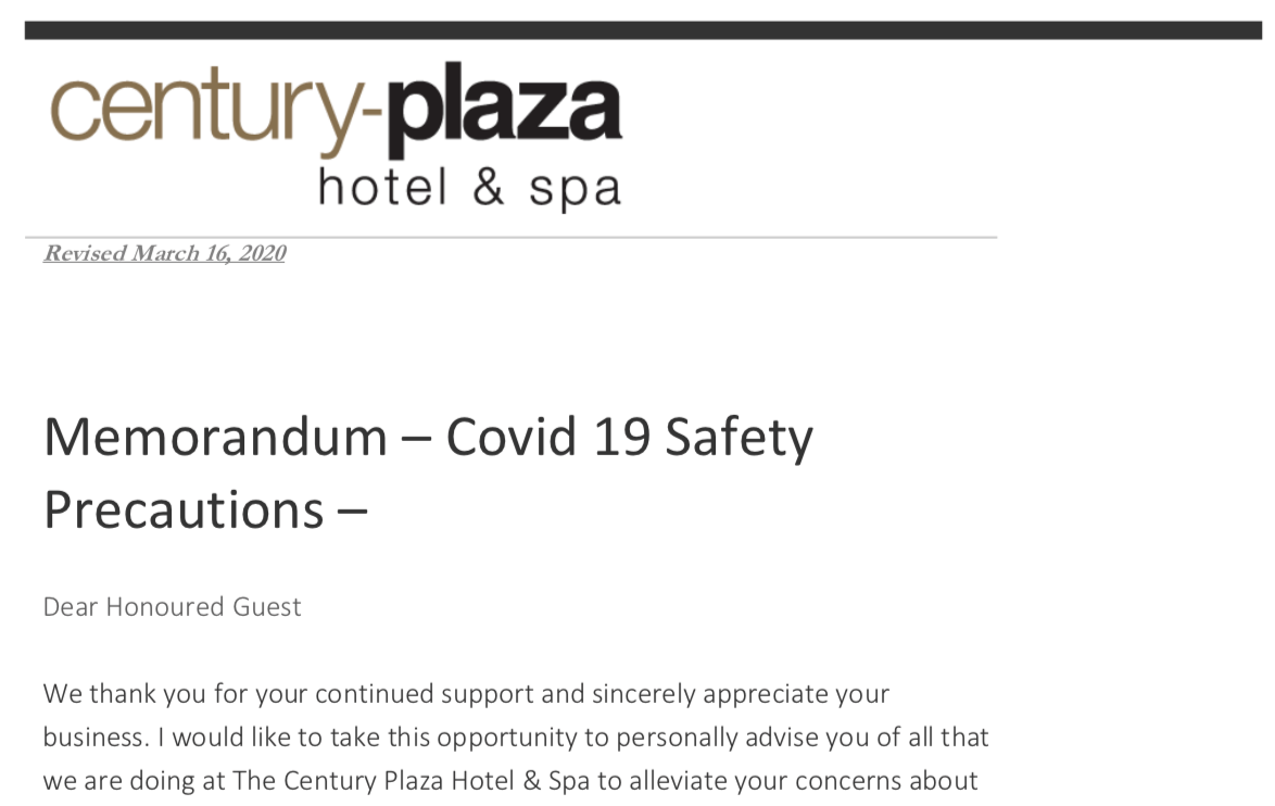 Memorandum – Covid 19 Safety Precautions UPDATED