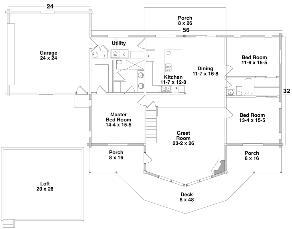 Floor Plan for the PAYSON by Century Cedar Homes