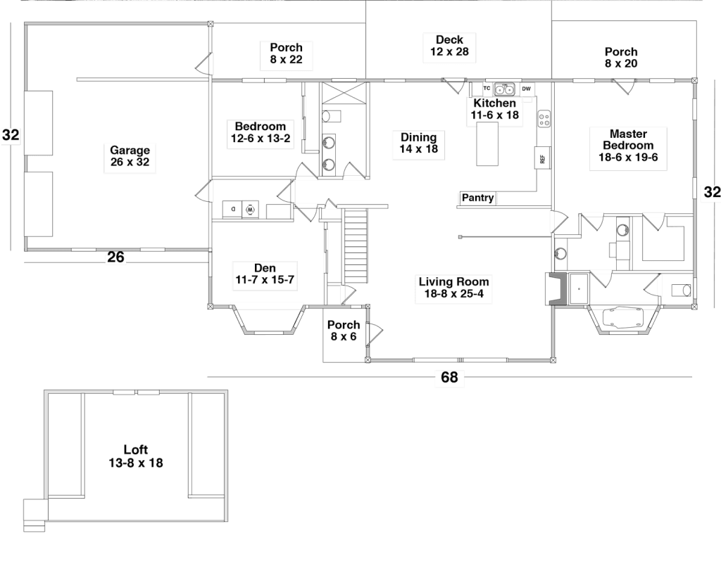 Floor Plan for the ROUGH & READY by Century Cedar Homes