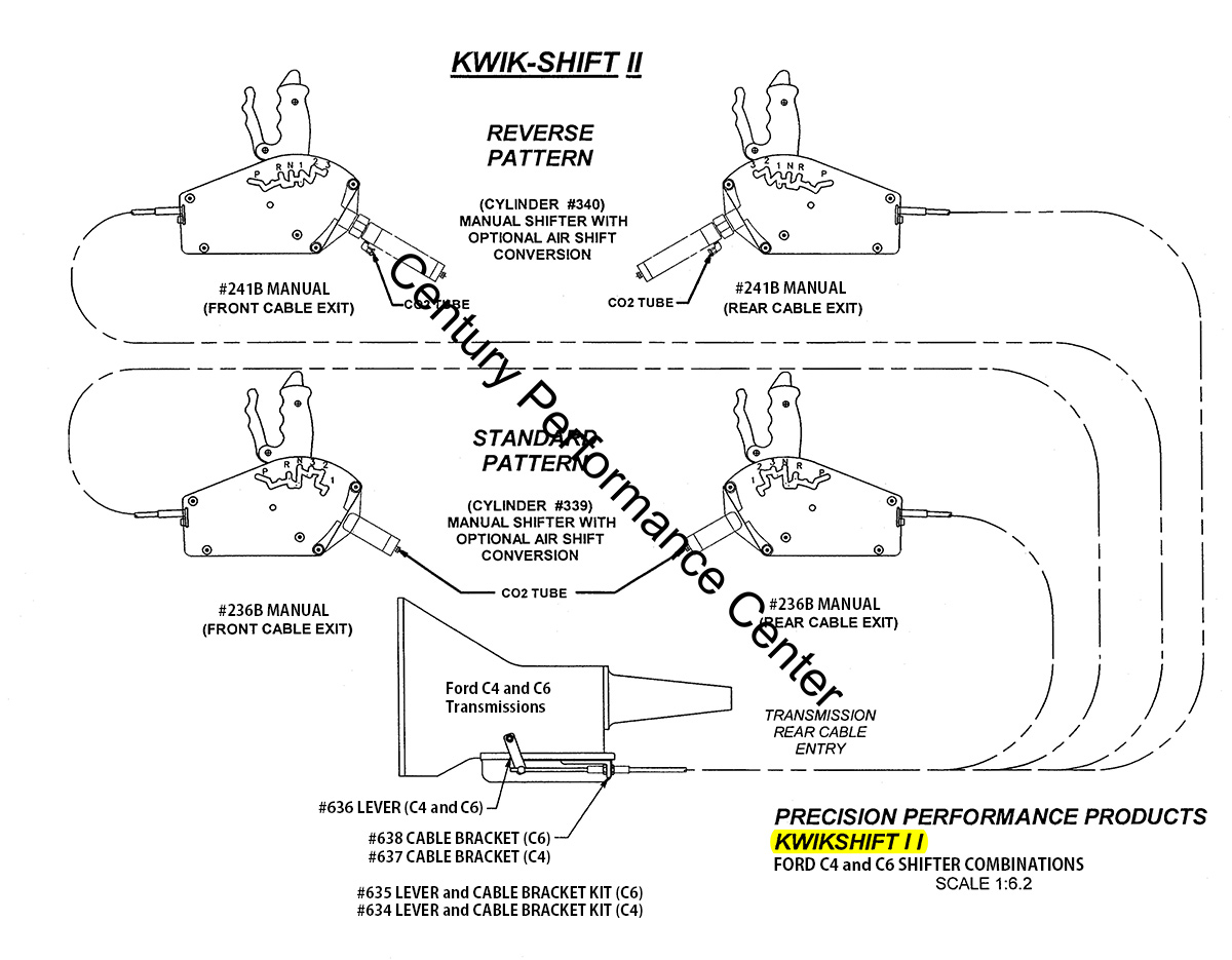 hight resolution of  kwik shift ii ford c4 and c6 shifter configurations