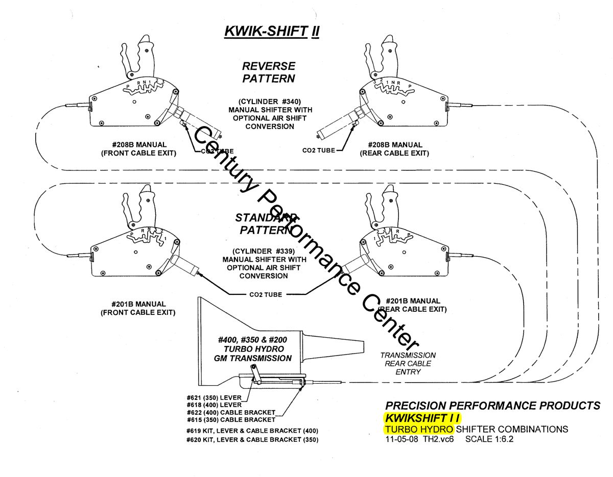 hight resolution of  kwik shift ii gm th350 and th400 shifter configurations