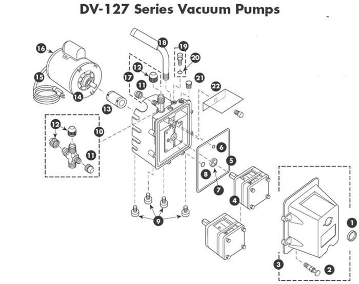 DV-127 JB Industries Vacuum Pump Repair Parts Manufactured