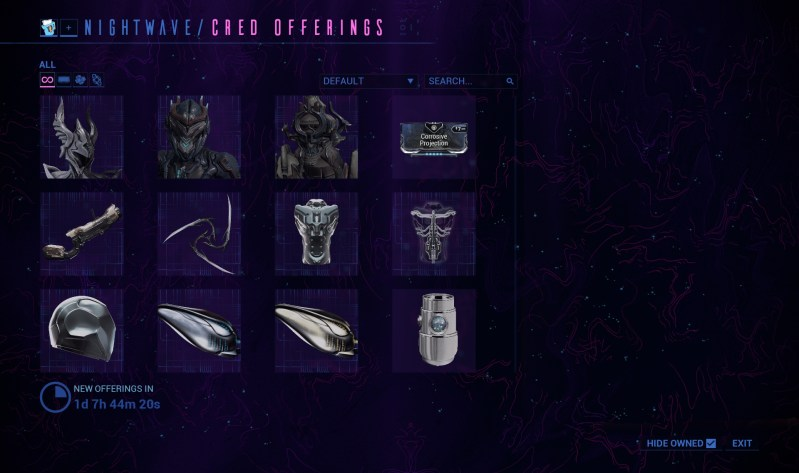 nightwave rewards mockup