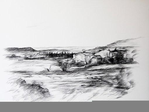 Vue sur la plaine à Saint Véran (Vaucluse), Dominique Barrot, 1983, encre