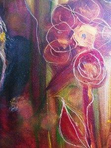 Dans le jardin des simples, détail, huile sur toile de Martine Cros
