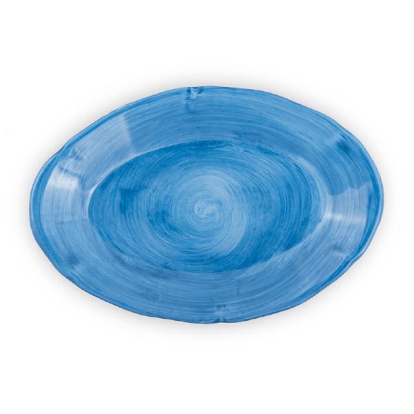 Ovale piano in ceramica dipinto a mano