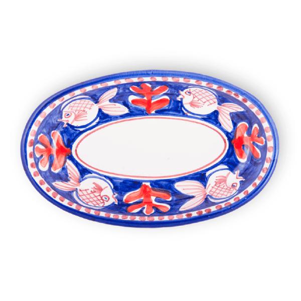 Ovaletto fondo in ceramica dipinto a mano