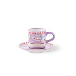Tazzina caffè con piattino in ceramica dipinta a mano