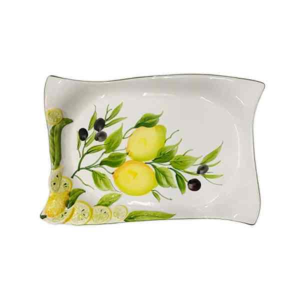 Vassoio Decoro Limoni e Olive 32x22 cm