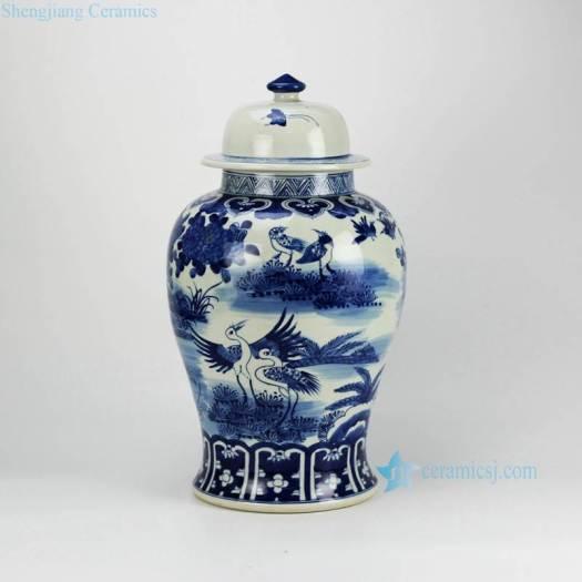 Asian Furniture Home Decor Blue And White Hand Paint Crane Porcelain Storage Jar