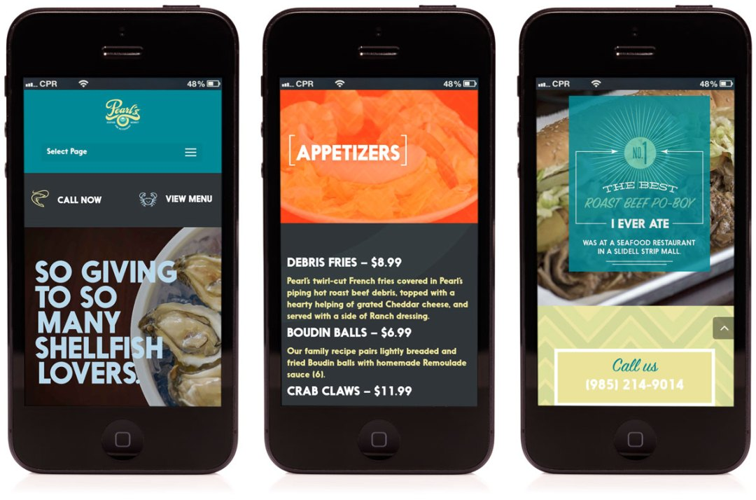 Cerberus created a mobile optimized website for Pearl's Seafood Market and Restaurant in Slidell