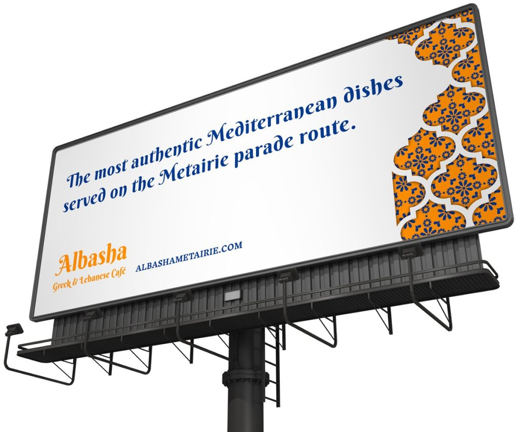 Outdoor billboard advertising for Albasha Greek and Lebanese Cafe designed by Cerberus Agency.