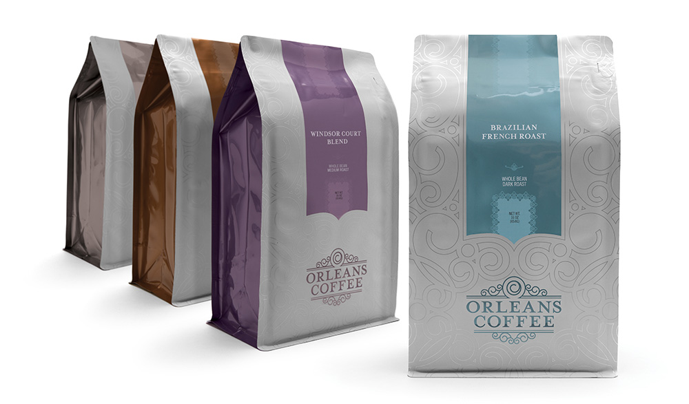 Orleans Coffee packaging, logo design, and brand development work by Cerberus Agency, a full service marketing, advertising, web development and design firm in New Orleans.
