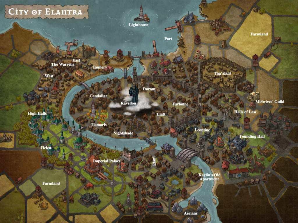 Una mappa della città di Elantra
