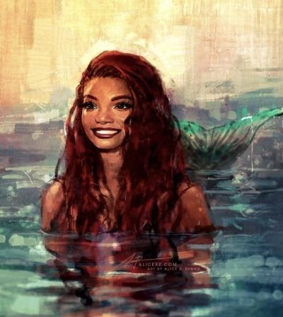 Halle Bailey come Ariel, immaginata da Alice XZ