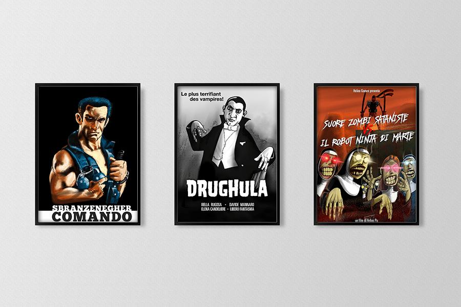 Copertine di DVD di possibili b-movie, con rimandi ad opere esistenti