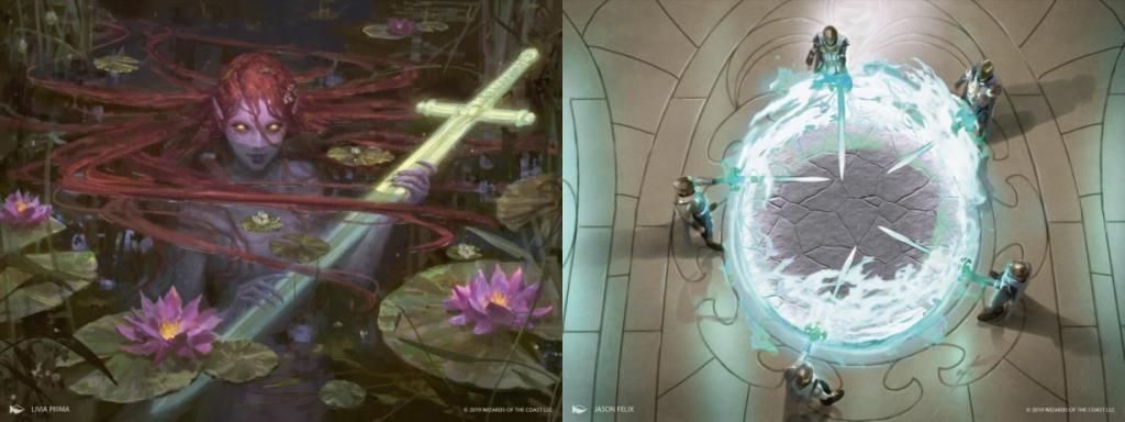 La Dama del Lago immaginata come una sirena da Livia Prima. Alcuni cavalieri intorno ad un qualcosa di Rotondo, ma non è una tavola.