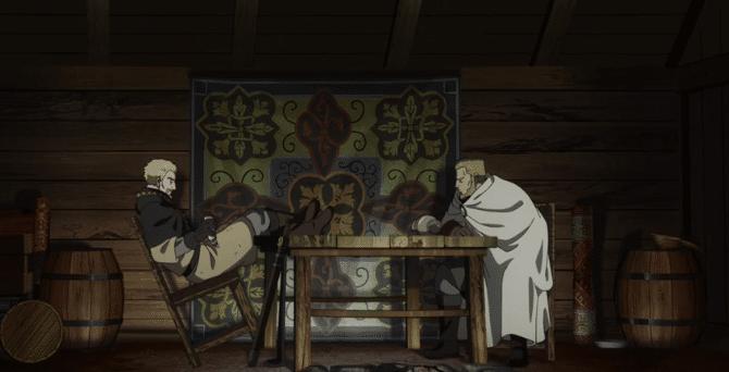 Askeladd a colloquio con Floki in  Floki infame, e non solo in Vinland Saga Episodio 02. Indovinate chi fra i due ha stile!