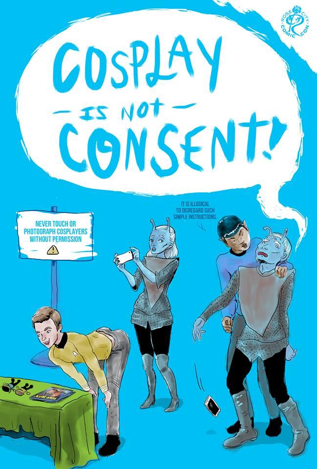 Manifesto fumettistico del Rose City Comic Con, che ha una Harassment Policy contro le molestie ai/lle cosplayer