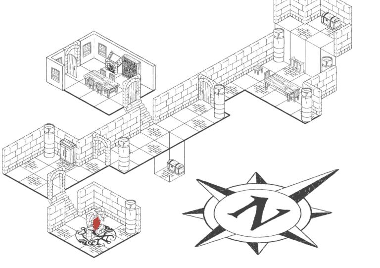 Uno spaccato di un interno costruito con Dungeon Builder.