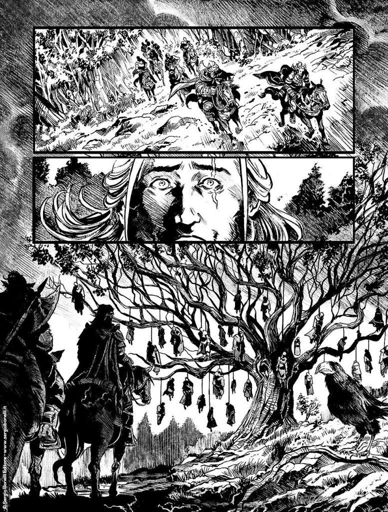Dragonero davanti ad un albero con persone impiccate