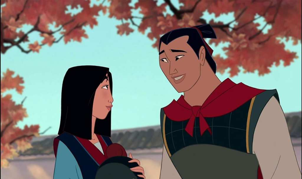 Li Shang e Mulan nell'unica scena esplicitamente romantica del film animato Disney del 1998
