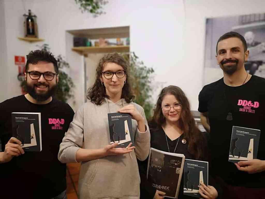 Marta Palvarini e parte del team di DD&D alla presentazione di Dura-Lande e di Fuori dal Dungeon a Bologna