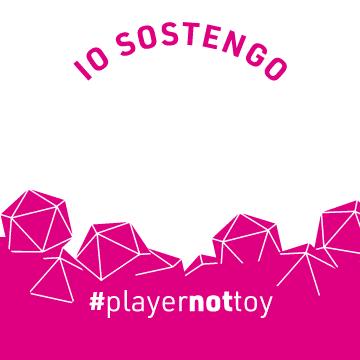 Una delle grafiche Facebook di #playernottoy, create da Filippo Munegato