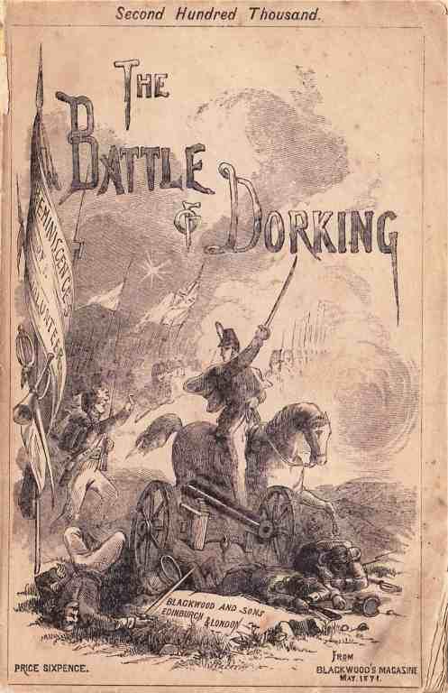 La copertina storica de La battaglia di Dorking, il primo libro di Invasion Literature, basata su specifiche paure umane