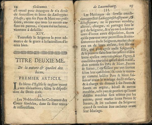 Coutumes Générales des Pays Duché de Luxembourg pages 14 - 15