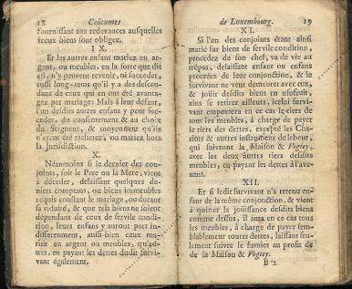 Coutumes Générales des Pays Duché de Luxembourg pages 18 - 19