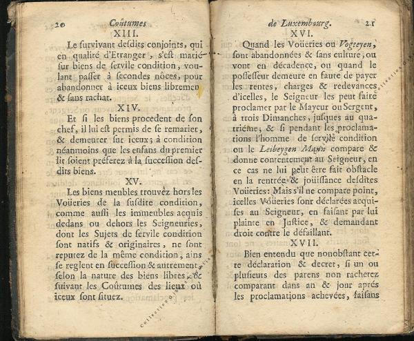 Coutumes Générales des Pays Duché de Luxembourg pages 20 - 21