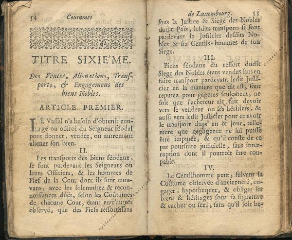Coutumes Générales des Pays Duché de Luxembourg pages 54 - 55