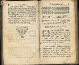 Coutumes Générales des Pays Duché de Luxembourg pages 8 - 9