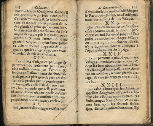 Coutumes Générales des Pays Duché de Luxembourg pages 108 - 109