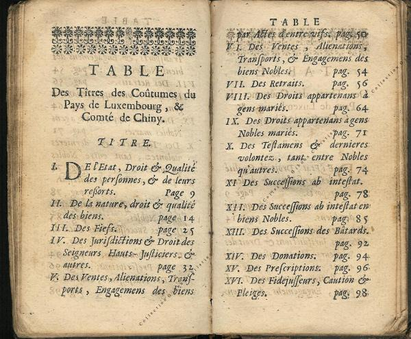 Coutumes Générales des Pays Duché de Luxembourg pages 114 - 115