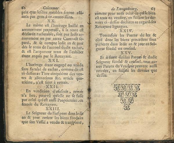 Coutumes Générales des Pays Duché de Luxembourg pages 62 - 63