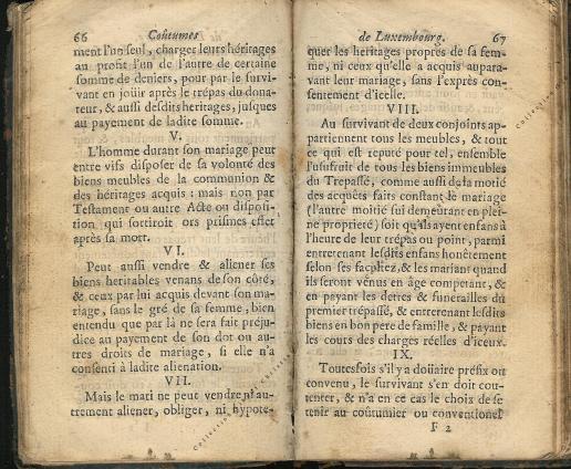 Coutumes Générales des Pays Duché de Luxembourg pages 66 - 67