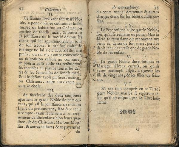 Coutumes Générales des Pays Duché de Luxembourg pages 72 - 73