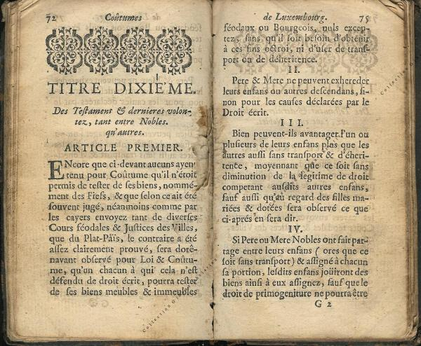 Coutumes Générales des Pays Duché de Luxembourg pages 74 - 75