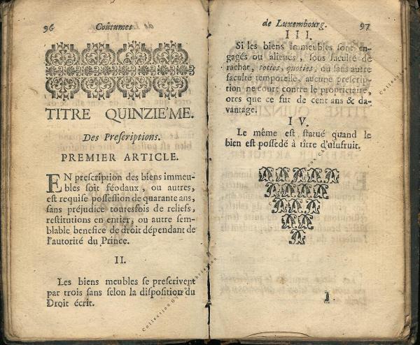 Coutumes Générales des Pays Duché de Luxembourg pages 96 - 97
