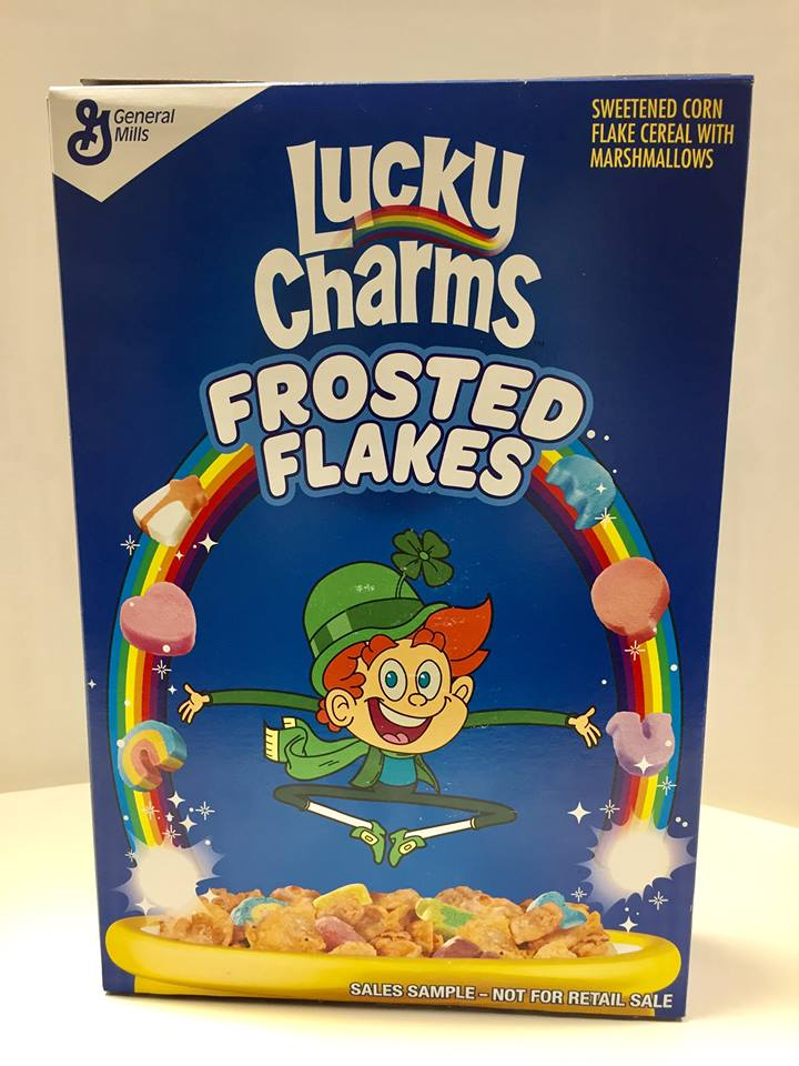 General Mills 2018 Lucky Charms Frosted Flakes Cereal Box
