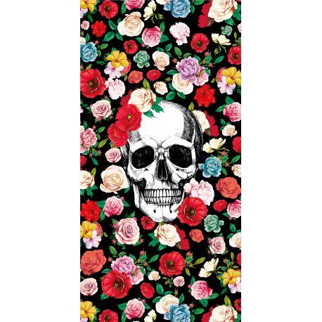 tapis vinyle fleurs et tete de mort rectangulaire 99 x 198 cm collection tattoo compris podevache