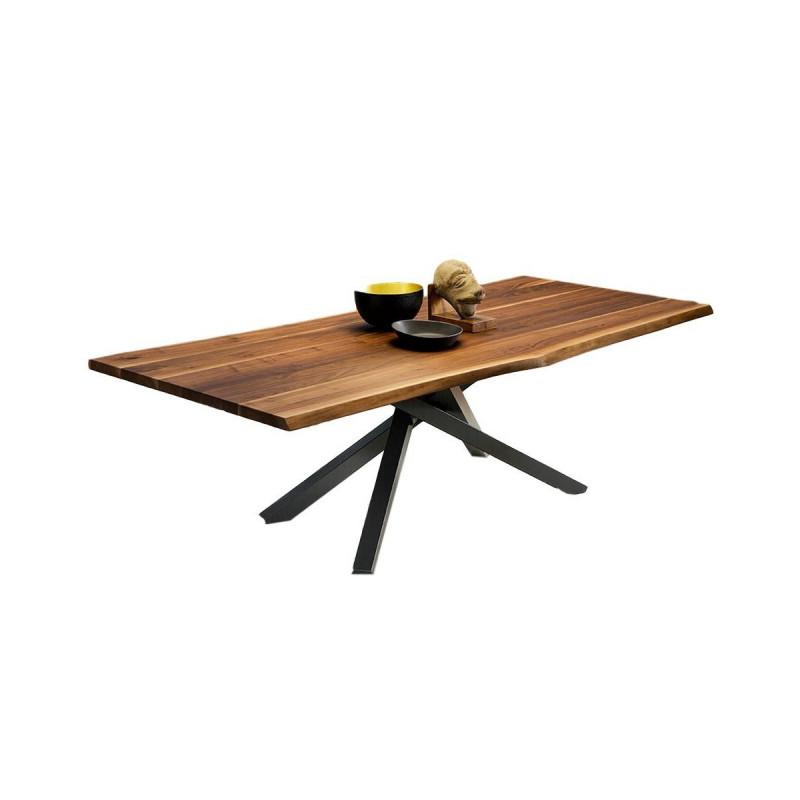 table pechino midj plateau noyer pieds acier 250 cm x106 cm