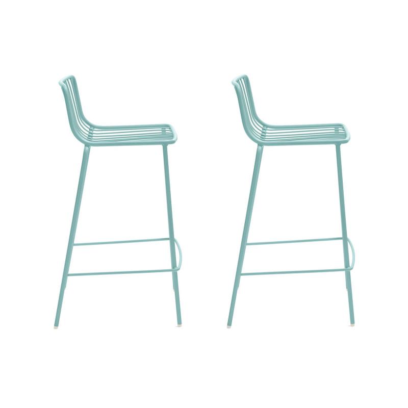 lot de 2 tabourets hauts metal filaire nolita 3657 pedrali bleu azur hauteur d assise 65 cm